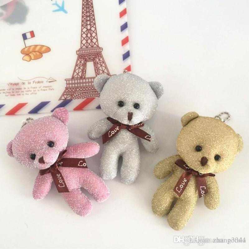 12CM Teddy Bear Plush Toys Key Chain Toys Bright Silk Bow Tie Fabric  Cartoon Animals Doll Mini Plush Stuffed Furnishing Articles Cute Lovely UK  2019 From ... fc1a4fa45