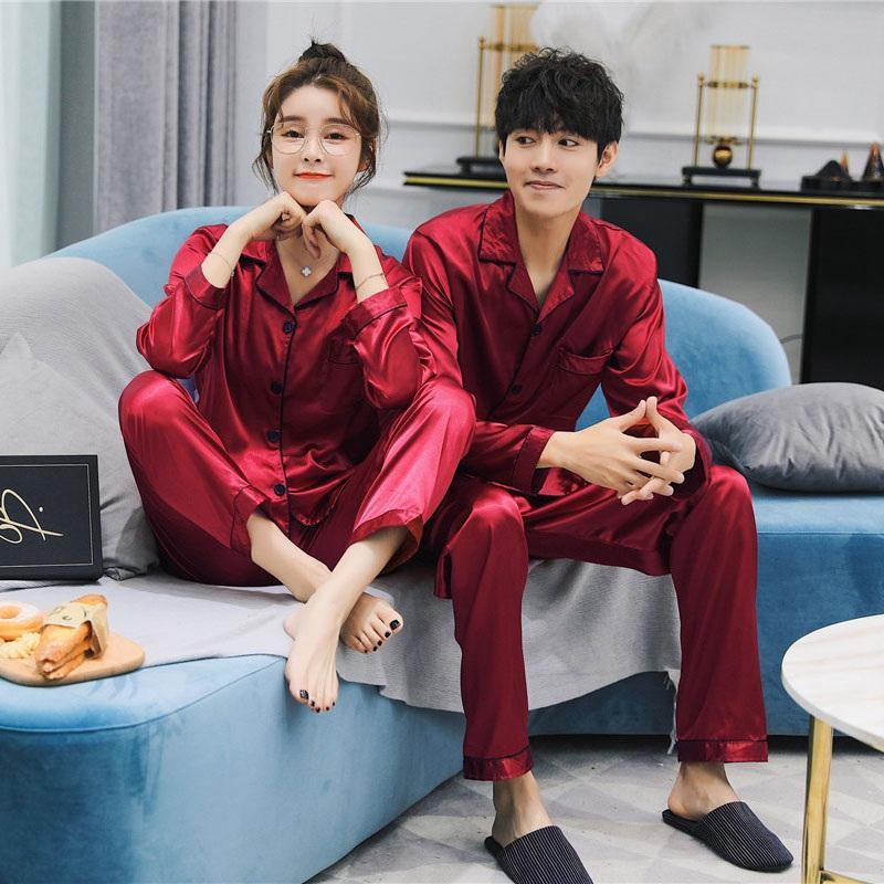 23de6ccbc27c 2019 Ice Silk Satin Cozy Couple Pajamas Set Comfy Women Men Long Sleeve  Sleepwear Pijama Pyjamas Nightwear Two Piece Sets Loungewear From Curteney