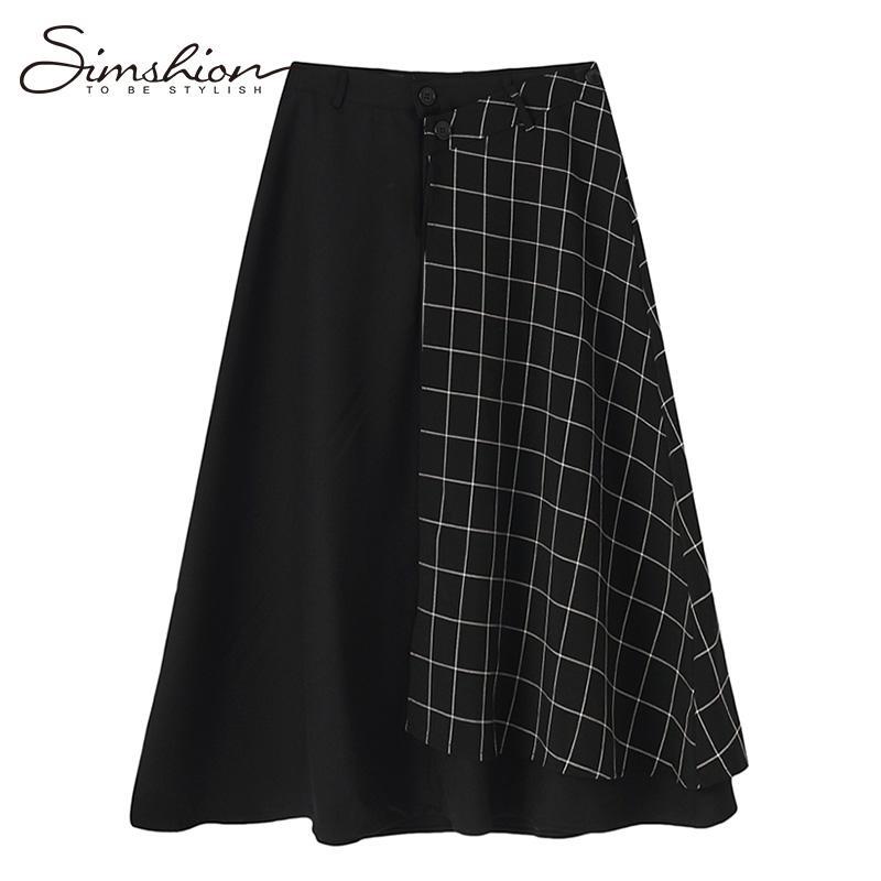 8dcdcaae817 Simshiom Plaid High Waist Skirts Women Elegant Spring Autumn Black Skirt  Casual Streetwear Pockets Long Skirts Jupes Femme Long Skirt High Waisted  Skirts ...