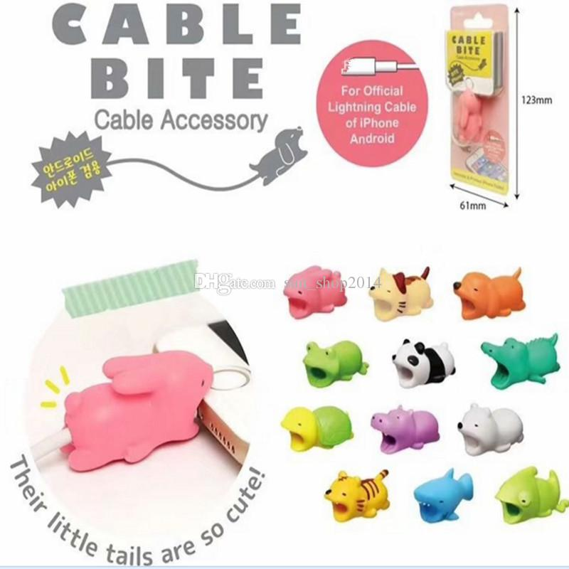 Envío rápido Cable Bite Cargador Cable Protector Savor Cover para iPhone Lightning Cute Animal Design Cable de carga Protector