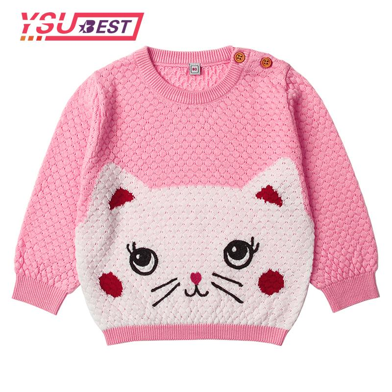 4118a53f 2018 Kid Pullovers Newborn Baby Boys Sweater Adorable Cat Knit Toddler  Girls Jumper Spring Thin Infant Knitwear Children Clothes Kids Knit Sweaters  Design ...