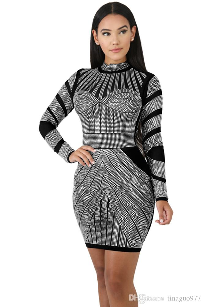 f8ea3040910 Women s Clothing Party Dresses Long Sleeve Printed Bodycon Dresses  Turtleneck Cocktail Party Dresses Black Red Blue