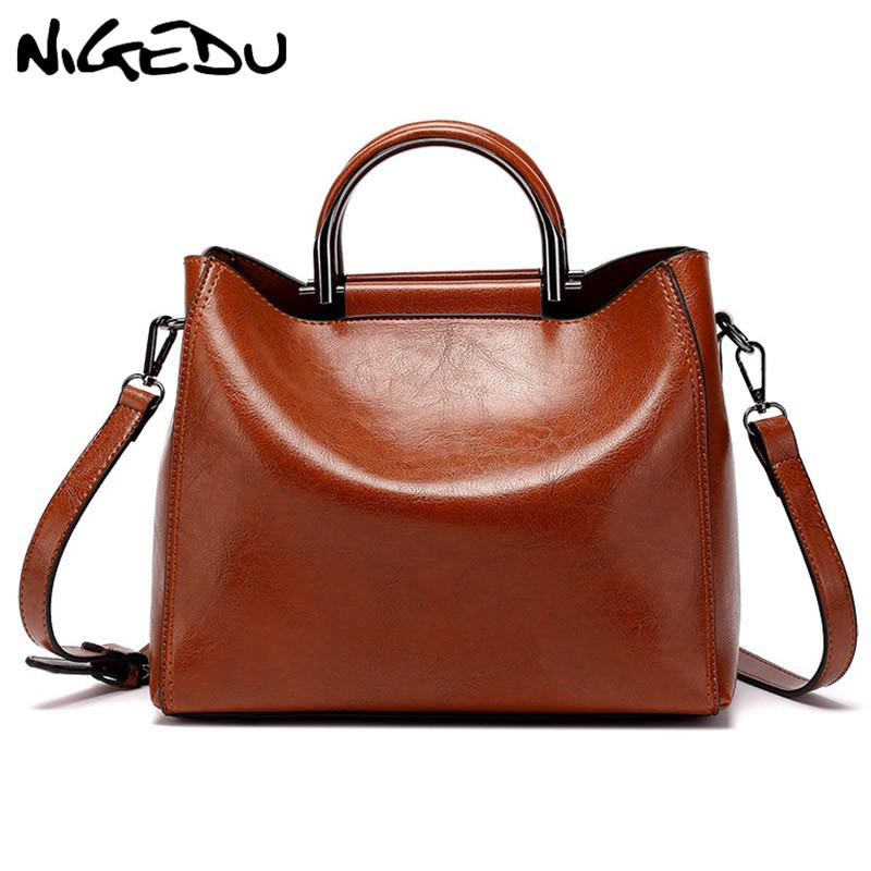 524dfe4af0 ... Soft Oil Wax Leather Woman Handbag Tote Crossbody Bag For Women  Shoulder Bag Elegant Ladies Office Luxury Designer Handbag Brands Reusable  Shopping Bags ...