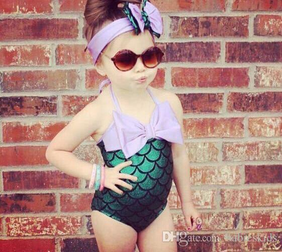 Fashion Mermaid Toddler Girls Swimsuit Kids Bikini Infant Baby Girls Lovely Summer Swimwear Bowknot Swimming Bathing Suit Headband Costume