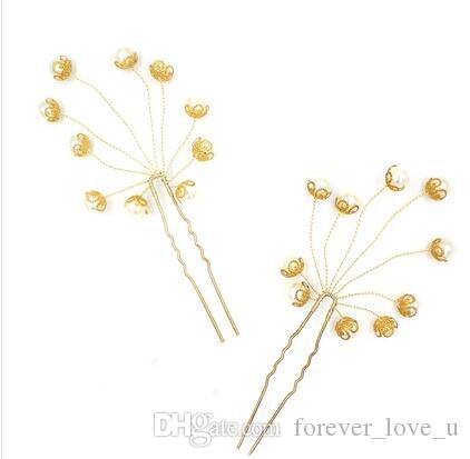 2018 Charming Gold Hairpin Stunning Pearls Headpieces U Type Clip Wedding Party Bridal Hairpins High Quality