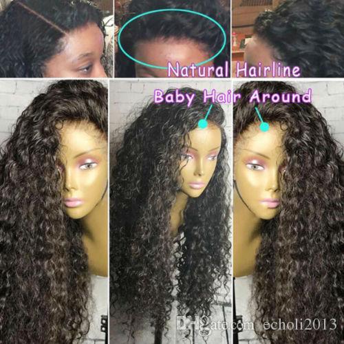 360 parrucca frontale in pizzo con onda d'acqua pre-pizzicata capelli umani 360 parrucca anteriore piena del merletto con i capelli del bambino 130% denstiy 18 pollici