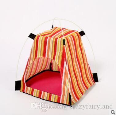 Creative Portable Folding Striped Pet Tent with Mat Small Dog House Cage Dog Cat Tent Playpen Puppy Kennel Easy Operation Outdoor Supplies