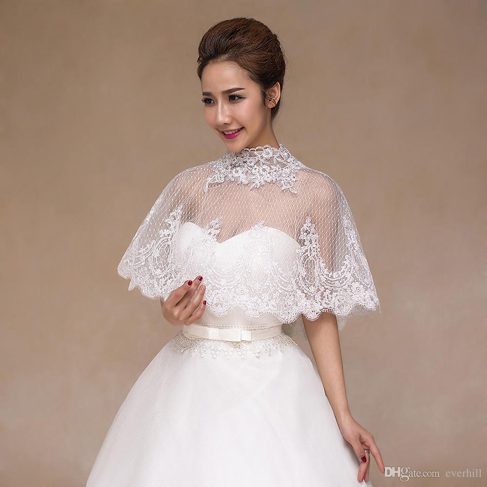 JaneVini High Neck White Bridal Cape Lace Applique Mesh Wedding Boleros Cloak Shrug Button Back Evening Capes Trouw Accessoires 2018