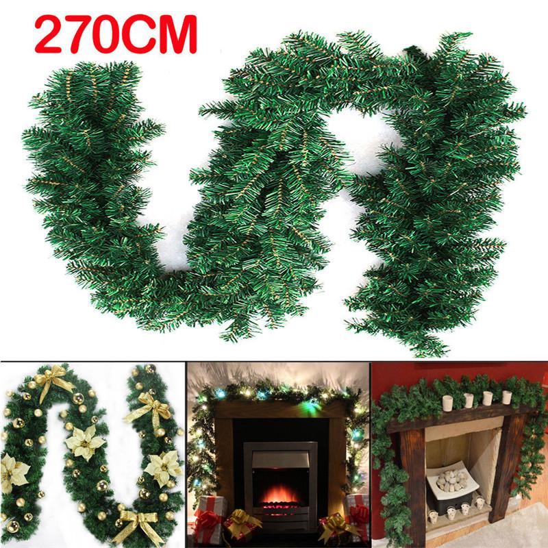 2 .7m 9ft Artificial Green Wreaths Christmas Garland Fireplace ...