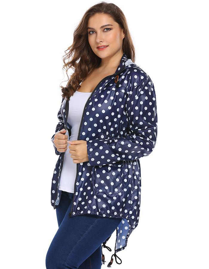 IN'VOLAND Full Size Women Hooded Jacket XL-5XL Spring Autumn Long Sleeve Dot Drawstring Raincoat With Pockets Coat Large Size