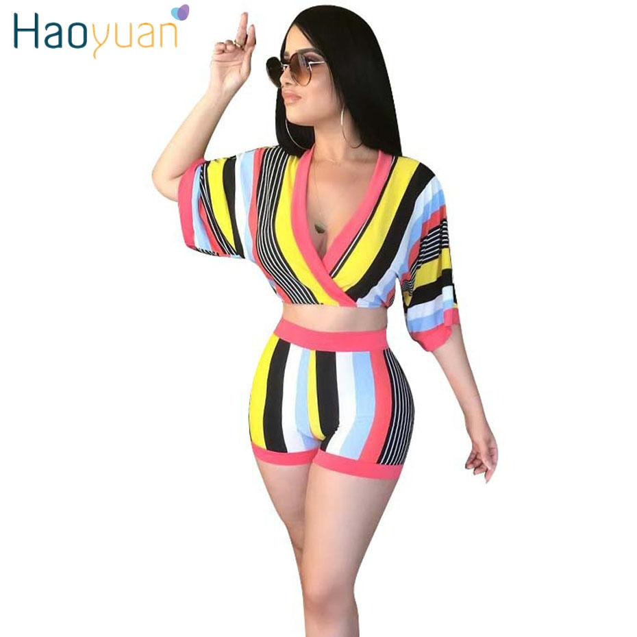 c3730a71043 2019 HAOYUAN Sexy Set Women Stripe Tops+Bodycon Shorts Suit Casual Summer  Outfits Plus Size Two Piece Matching Sets Tracksuit From Cailey