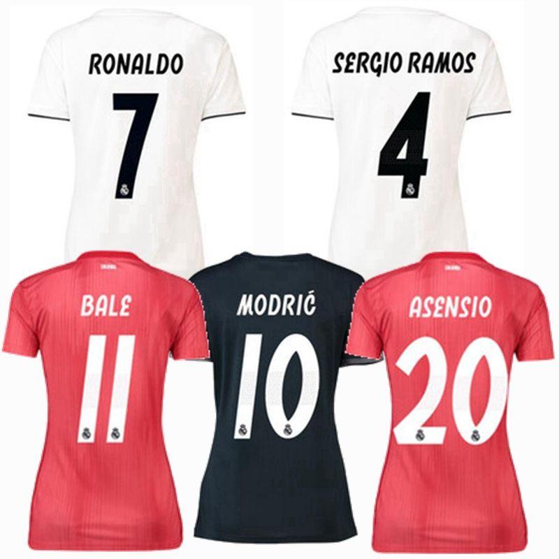 7976b201c 2019 2018 2019 Real Madrid Women Soccer Jersey Benzema Ronaldo Modric Kroos  Sergio Ramos Bale Marcelo ASENSIO Modric 18 19 Football Shirts S XL From ...