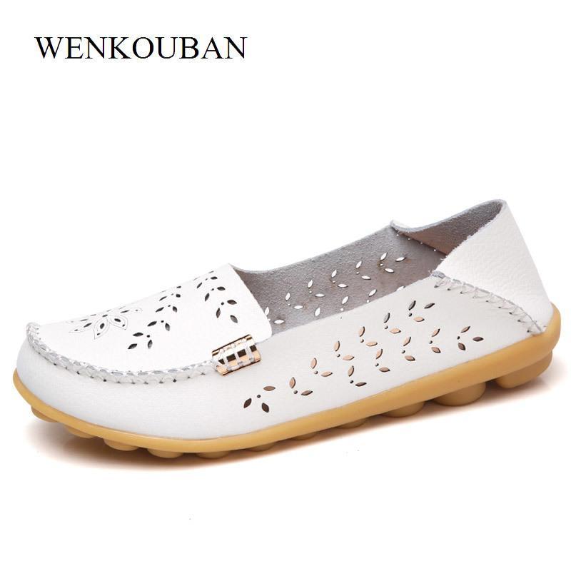 Compre 2019 Zapatos De Cuero Genuinos Ocasionales De Las Mujeres Pisos De Ballet  Mocasines De Verano Zapatos Planos De Las Señoras Mocasines Resbalón En La  ... ec84f22a15f