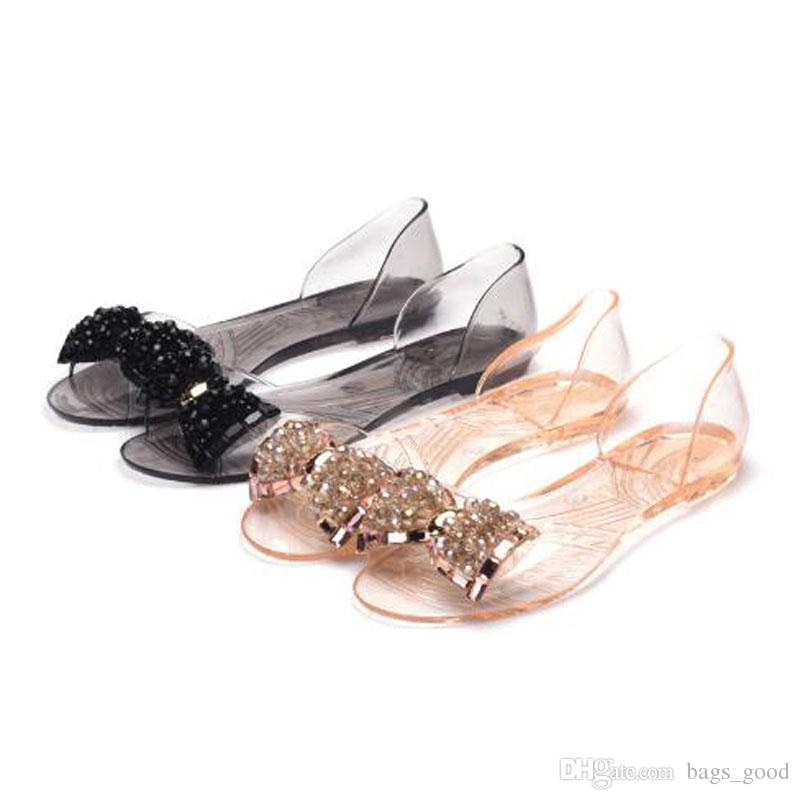 0c887fb3e New PVC Summer Transparent Women S Sandals Comfortable Bowknot Flats Shoes  For Woman Cover Heel Slip On Jelly Shoes Shoe Shop Cute Shoes From  Bags good
