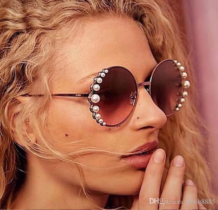 3c4d99e09b1 New 2018 Luxury Pearl Round Sunglasses Women Sexy Shades Vintage 2018 Brand Glasses  Designer Fashion Oculos UV400 Native Sunglasses Wholesale Sunglasses ...