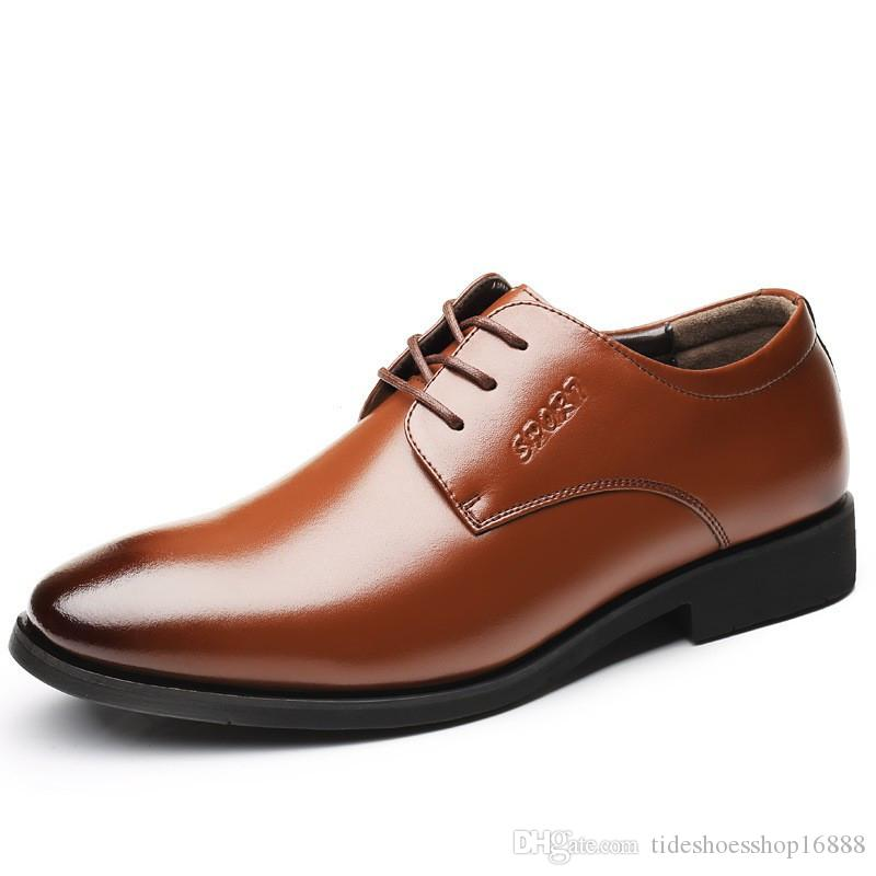 09f88251d28 2019 Brand Genuine Leather Men Dress Shoes Men Formal Business Office Shoes  Lace Up Male Wedding Shoes Fashion Comfortable Pointed Toe Loafer Shoes  Shoes Uk ...