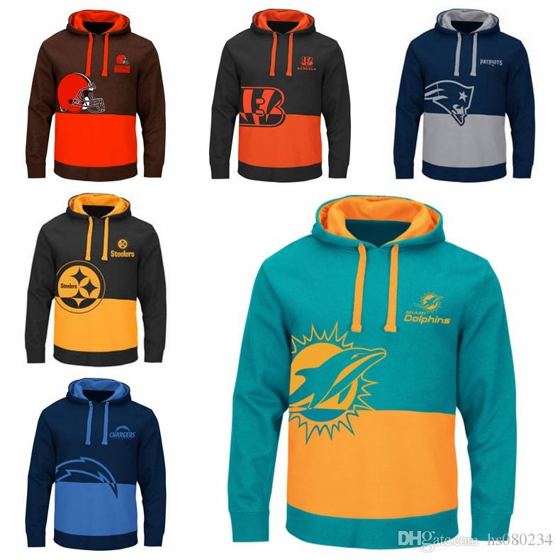 cheap for discount e526f ced0f Cincinnati Bengals New Patriots Pittsburgh Steelers Miami Dolphins Los  Angeles Chargers Cleveland Browns Men's Two Colors Splice Hoodies