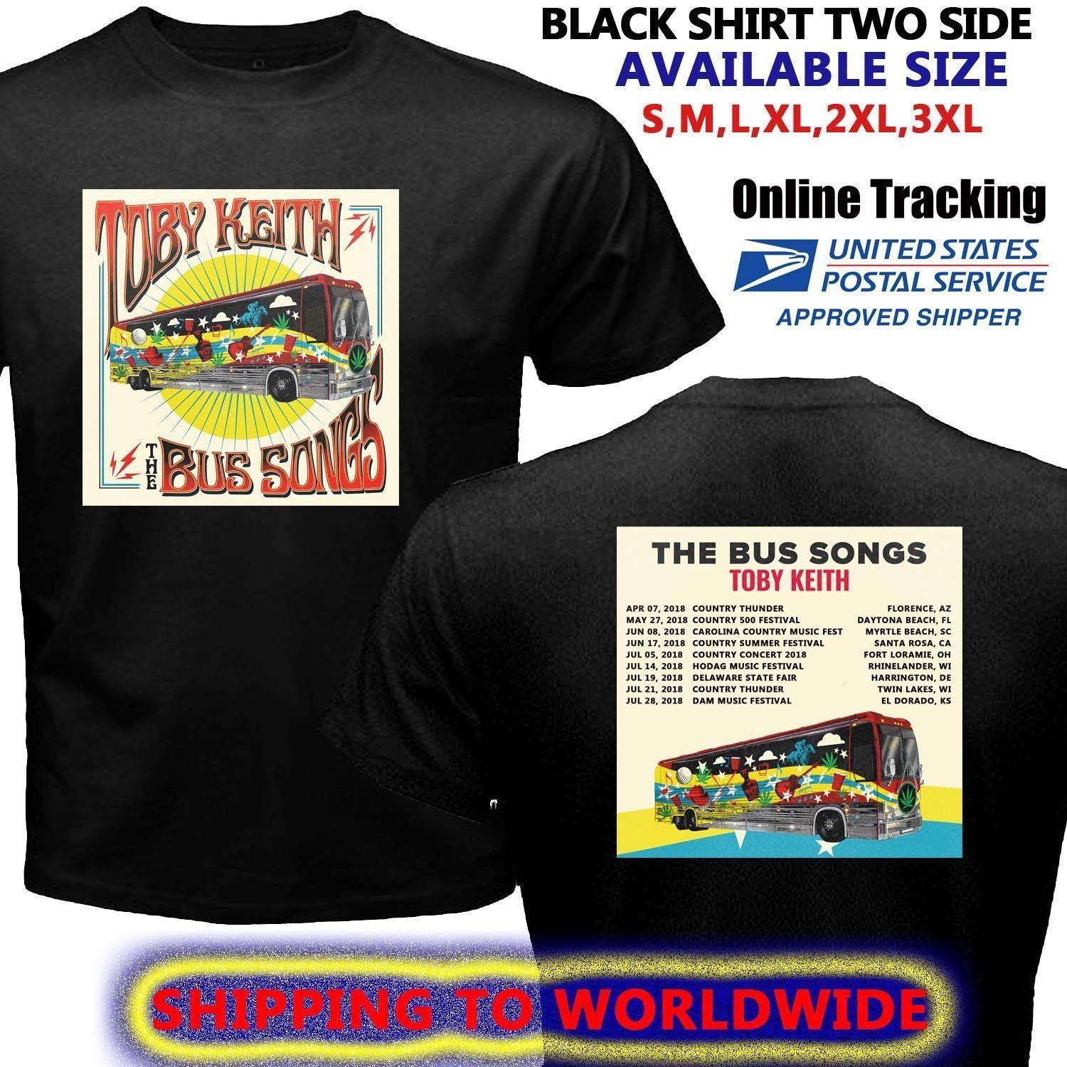 Toby Keith Bus Songs Tour Dates 2018 Black T Shirt Size S To 5xl