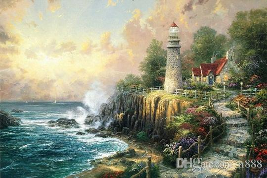 Thomas Kinkade The Light O Peace Handpainted & HD Print Seascape Art Oil Painting On Canvas,Home Deco Wall Art High Quality l179