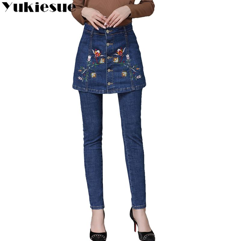 e527603e826 2019 Embroidery Jeans Female 2017 High Wasit Vintage Denim Jeans Woman  Skinny Long Pencil Pants Skirts Women Plus Size From Sikaku