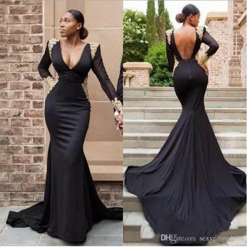 African 3 Style Black Mermaid Evening Gown Deep V-neck See Through Long Sleeve Black Girl Prom Party Dresses With Gold Appliques Prom Dresses
