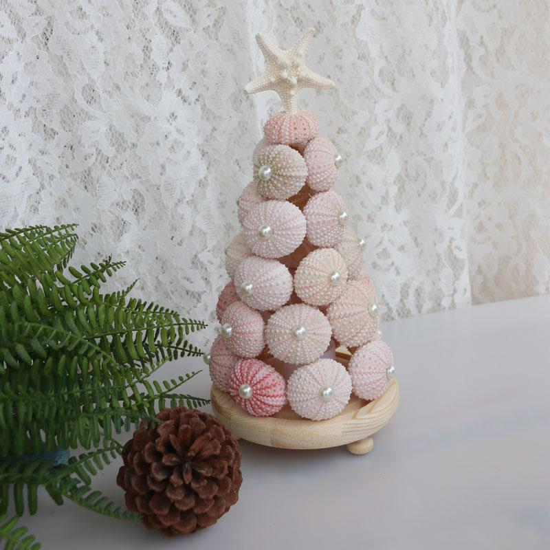 Free Shipping 1set Lot Pink Sea Urchin Christmas Tree Natural Shell Conch Beach Wedding Decor Handmade Coastal Home Decoration