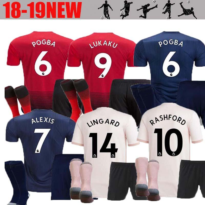 800ece368 2019 Adult Kit 18 19 ALEXIS LUKAKU Soccer Jersey Full Kit THIRD Man 2018  2019 Home POGBA RASHFORD Utd Football Shirt BLUE MAILLOT DE FOOT From ...