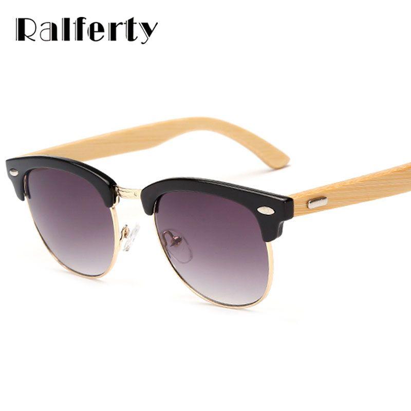 62d9186bfe43d Ralferty Semi Rimless Bamboo Sunglasses Women Men Wooden Temple Gradient  Sun Glasses Sport Goggles Shades UV400 Oculos Eyewear Sports Sunglasses  Cheap ...