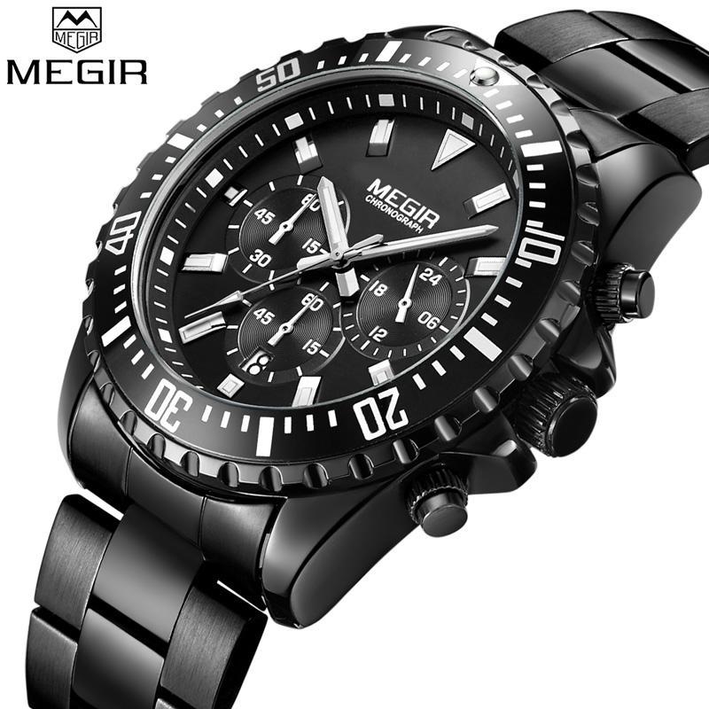 43d7450c9d29 Compre Relogio Masculino MEGIR Reloj De Los Hombres Top Marca De Lujo Cronógrafo  Reloj Militar Deporte Deporte De Acero Inoxidable Reloj Masculino 2064 A ...
