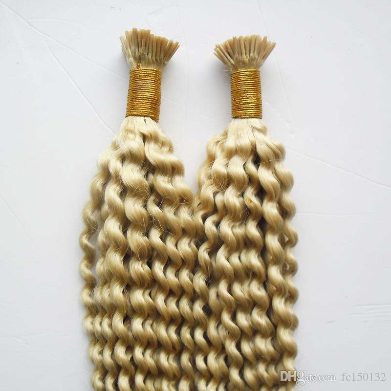 613 Blonde Kinky Curly 1g/strand Nail I Tip Pre-Bonded Keratin Glue Remy Natural Human Hair Extensions 200strands Real 100% Human Hair 200g