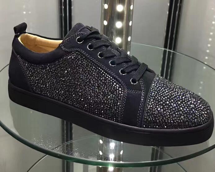 new arrive aa1e0 fe1a1 2018 moda scarpe da uomo con borchie nere in metallo con borchie  scamosciate casual per uomo e donna sneakers basse con fondo rosso, vera  pelle 36-47