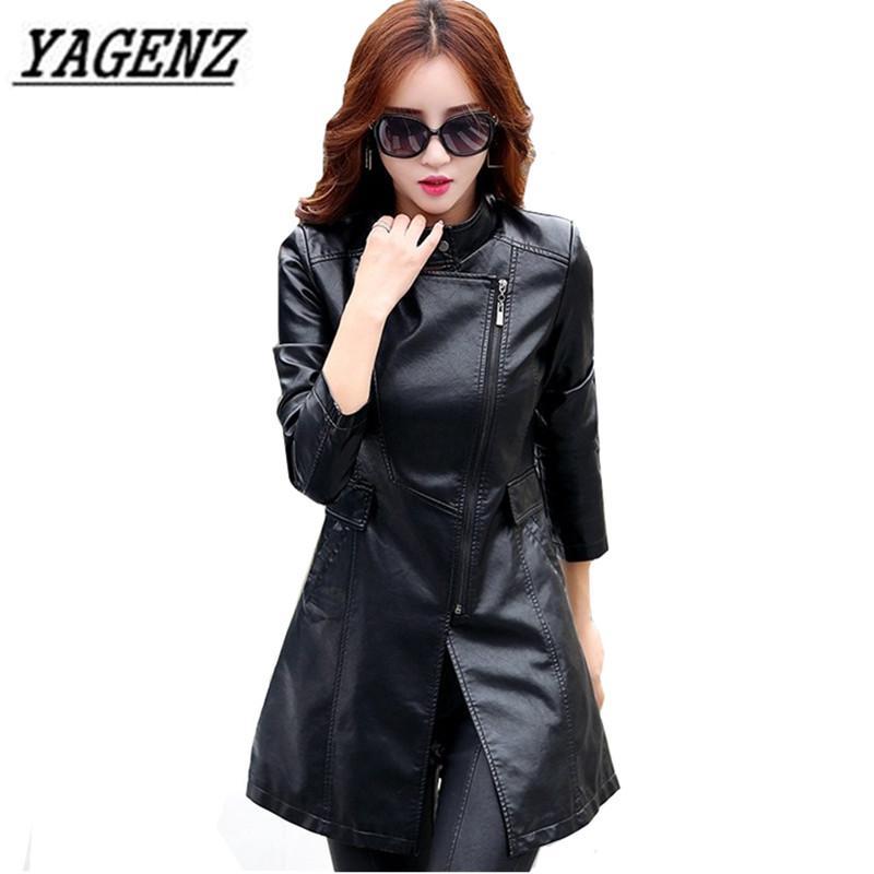 c579da6892ed1 2019 Black Women PU Leather Jacket Windbreaker Coat Plus Size 5XL Slim  Patchwork Long Coat Windproof Faux Leather Jacket Cool From Pileilang