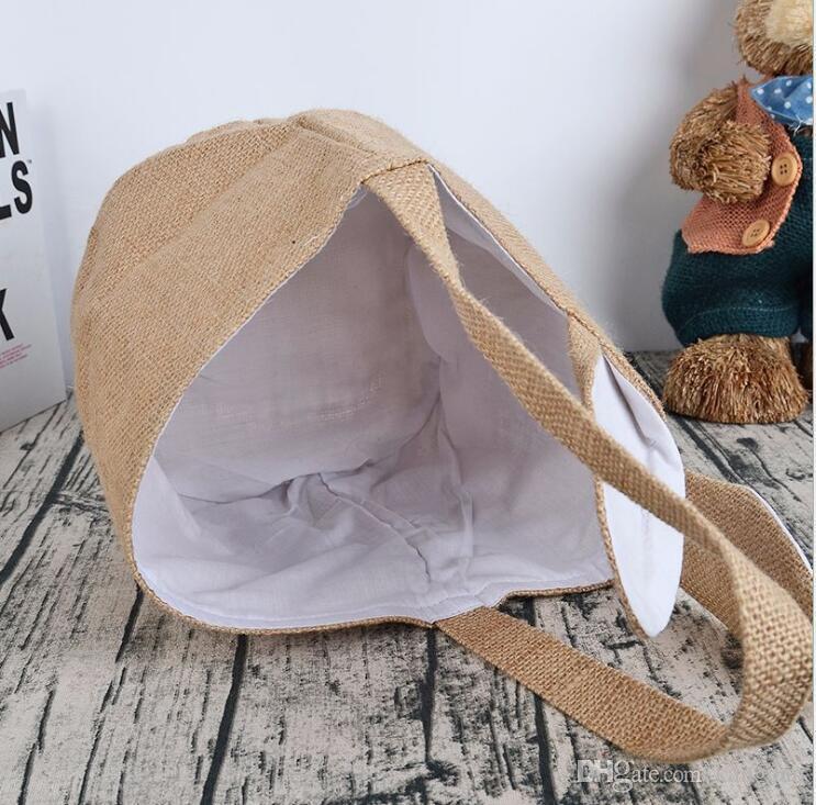 Ovo de páscoa Cesta de presente de natal cesta de lavanderia armazenamento de supermercado cestas de mão de compras feitas à mão orelhas de coelho cesta de presente sacos de embalagem