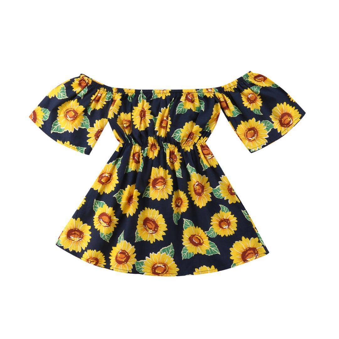 348dd7def2 Compre Criança Infantil Crianças Bebés Meninas Fora Do Ombro Playsuit  Girassol Macacão Roupa Do Bebê De Namenew