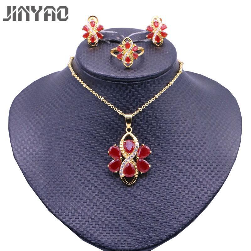 3D Craft Color : Red Women Zircon Pendant Flower Necklace
