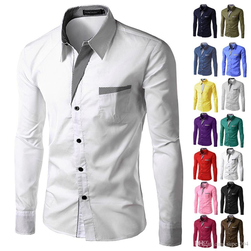 Brand 2018 Dress Shirts Mens Striped Shirt Slim Fit Chemise Homme
