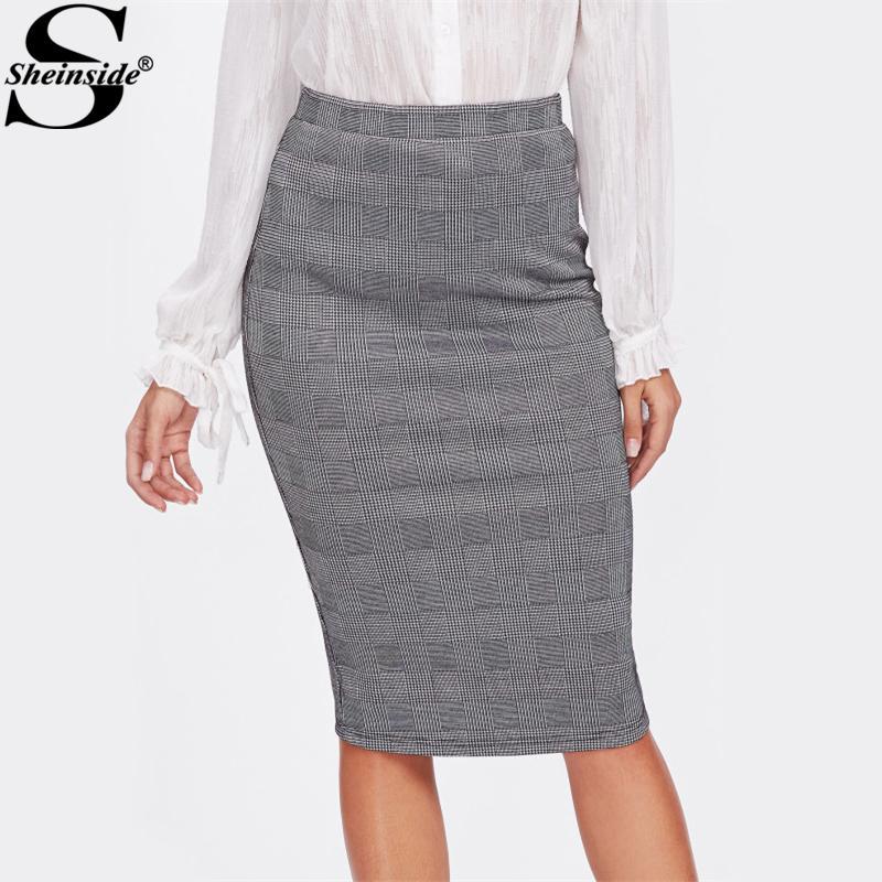 e041000bea 2019 Sheinside Vented Back High Waist Plaid Pencil Skirt 2017 Grey Knee  Length Split EleSkirt Women Work Sheath Autumn Skirt From Yonnie, $20.38 |  DHgate.