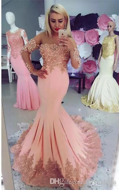 Mangas compridas Vestidos de Noite Peach Pink 2018 Formal desgaste da noite Contas Sereia Sheer Neck Beads Applique Vestidos de Baile yousef aljasmi