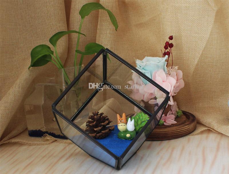 New Garden Miniature Glass Terrarium Geometric Diamond Desktop Garden Planter For Indoor Gardening Home Decor Vases WX9-672