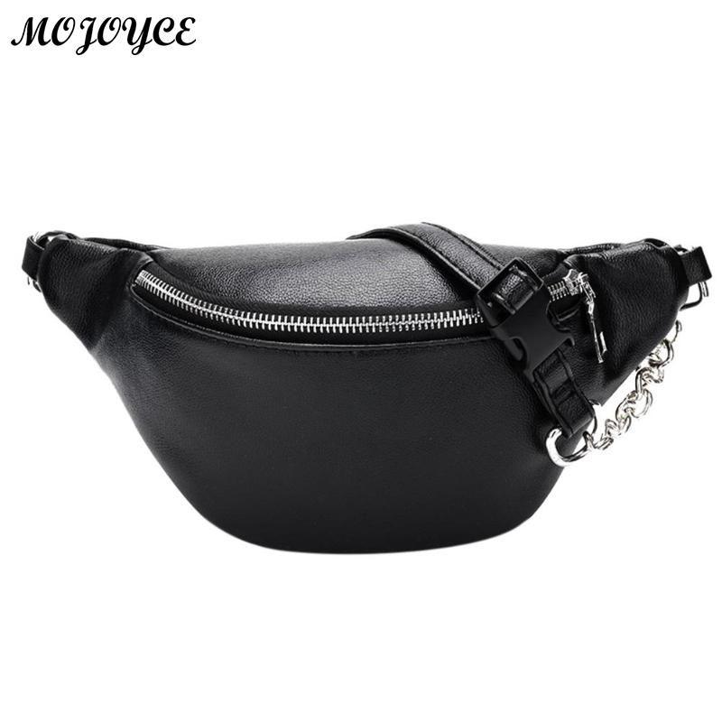 35ab4e80861 Classic Black White Waist Pack Fashion Chain PU Lychee Leather Waist Bag  Waterproof Anti Theft Girls Walking Shopping Belt Bags