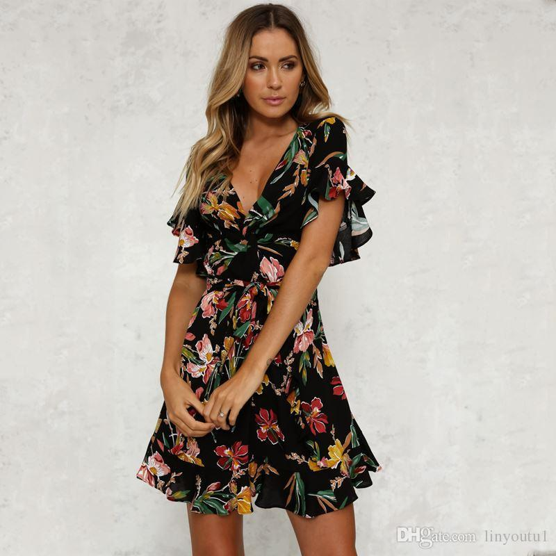 6a15249a6f Summer Dress 2019 Women Sexy Deep V Neck Black Flower Print Dresses Hem  Folds Bohemian Style Belt Mini Ruffle Beach Dress Ladies Evening Dresses  Petite ...