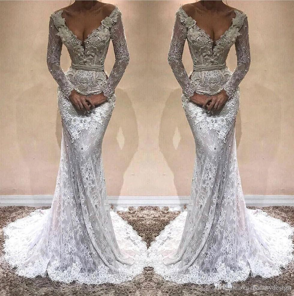 2018 Sexy Deep V Neck Long Sleeves Lace Mermaid Evening Dresses Applique Beaded  Stones Sweep Train Formal Party Prom Gowns Vestidos BA9809 Plus Size Evening  ... 3873e31b8d3d