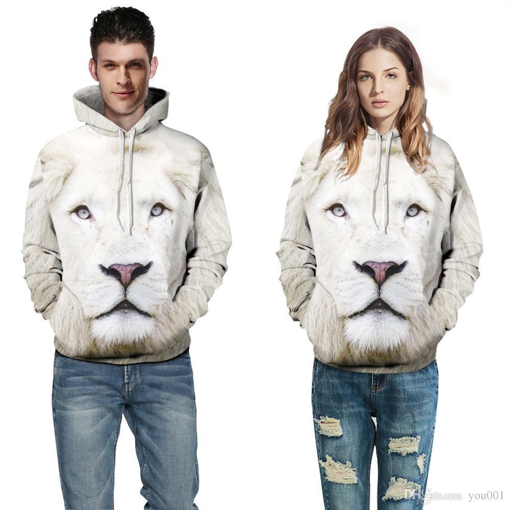 2018 Yeni stil beyaz aslan kapüşonlu hoodie ceket ile baskılı erkek Hoodies gömlek kazak erkek Giyim uzun kollu giyim