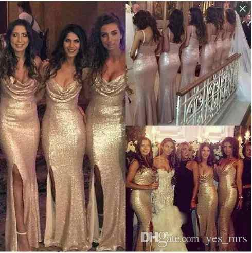 2018 Sparkly Mermaid Side Split Rose Gold Bridesmaid Dresses Spaghetti Straps Sequins Ruched Backless Long Wedding Guest Maid of Honor Gown