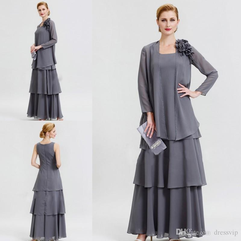 Grey Mother Of The Bride Dresses With Jacket Long Sleeve Chiffon ...