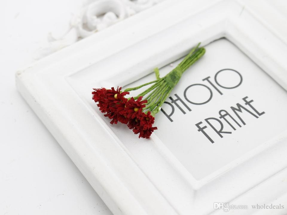 10 unids / lote Daisy Ramo de Flores de Seda Artificial para casa Boda Scrapbooking Caja de regalo Decoración DIY Guirnalda Artesanía Flor Falsa