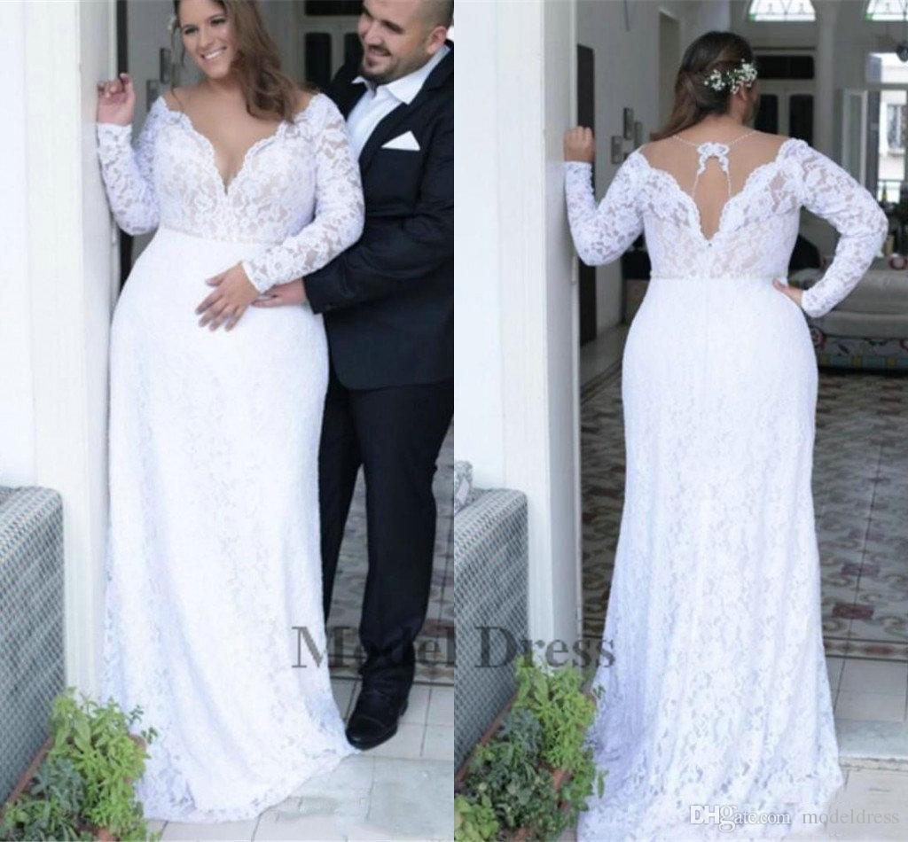 2d37187b50 Lace Plus Size Wedding Dresses with Long Sleeves 2018 Deep V Neck Sheath  Elegant Sexy White Bridal Gowns Sweep Train Women Wear 2018