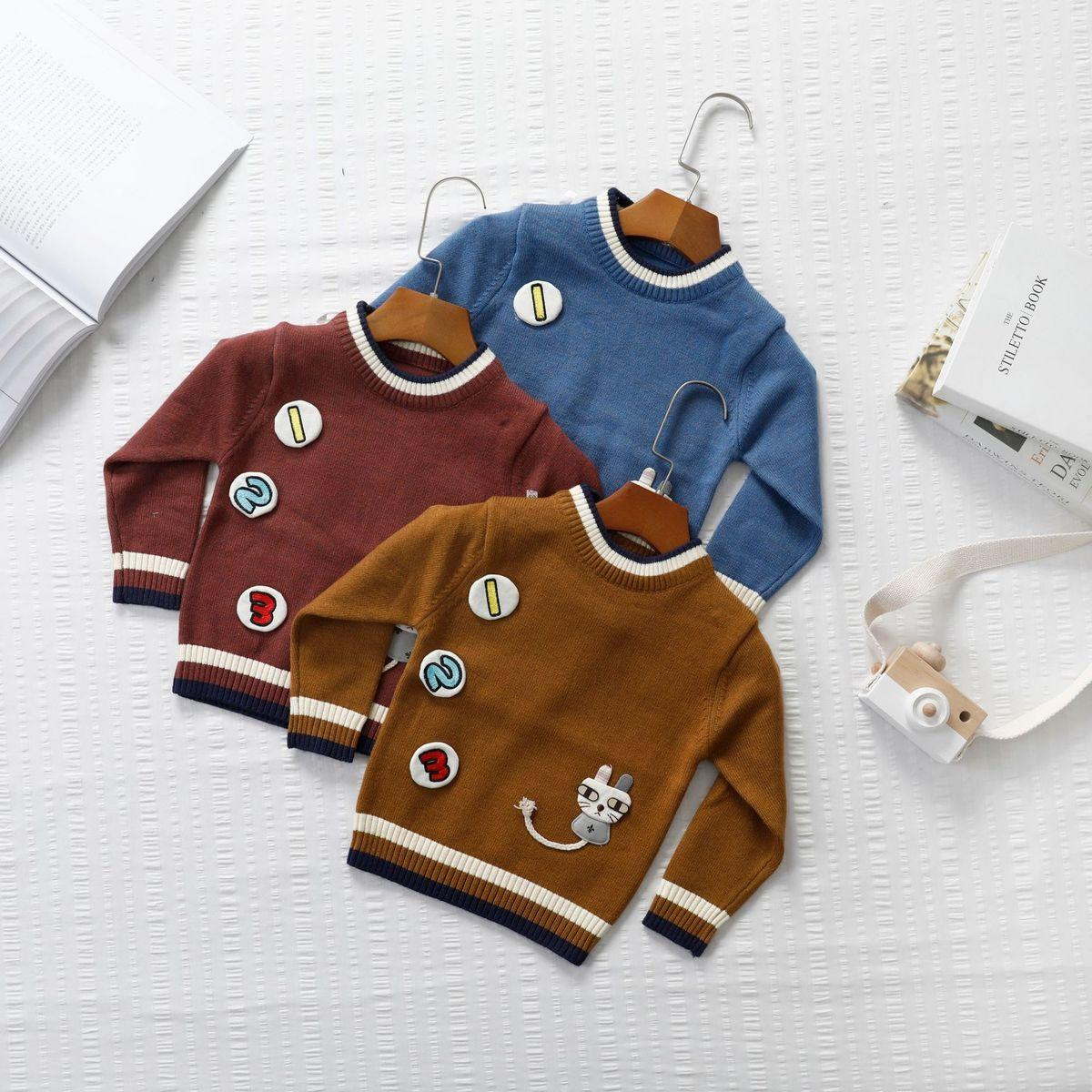 d4eeb33423a6d0 Autumn And Winter 2018 New Pattern Sweater Korean Digital Cartoon Round  Neck Small And Medium Children Tide Online with  24.32 Piece on Zjy5210 s  Store ...