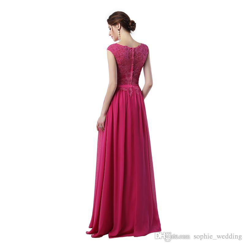 Dress Long Party Vestido Festa Longo Noite Casamento 2018 Hot Pink Chiffon Prom Dress Cheap Evening Dresses Made in China