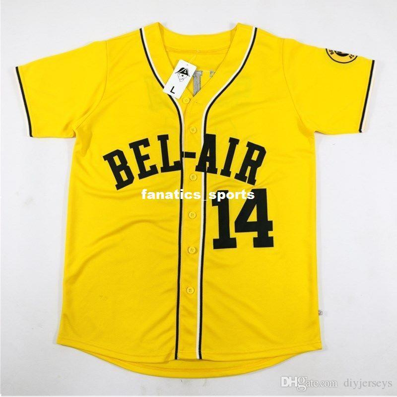 f4d18067d436 2018 Will Smith 14  Baseball Jersey Bel Air Academy Embroidery Stitched  Yellow Men Women Youth Jerseys Xs 5xl From Diyjerseys